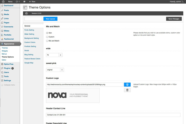 Nova - WordPress Theme - Installation and Options Panel